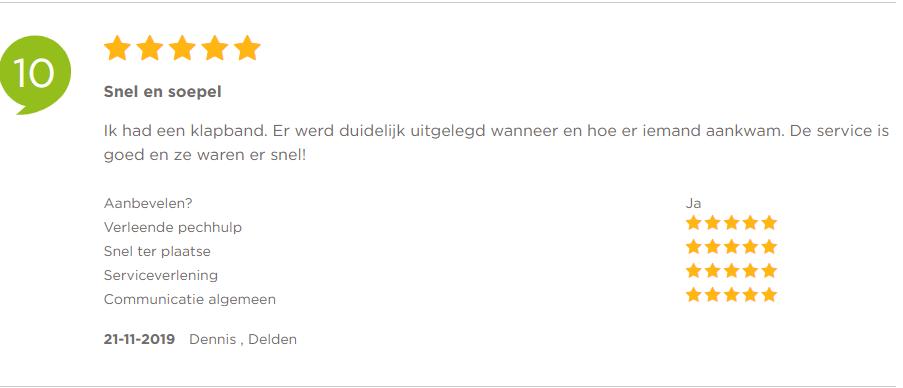 Klapband – Pechonderwegservice.nl – Klanten vertellen